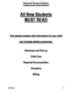 All New Students MUST READ