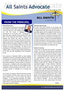 All Saints Advocate FROM THE PRINCIPAL ALL SAINTS ACADEMY. Vol 3 No 3 February