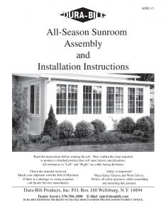 All-Season Sunroom Assembly and Installation Instructions