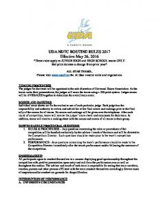 ALL-STAR TEAMS:, Please visit  for All Star routine rules and regulations