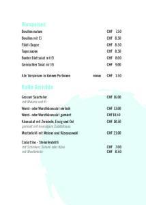 Alle Vorspeisen in kleinen Portionen minus CHF 1.50