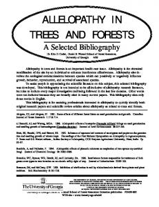 ALLELOPATHY IN TREES AND FORESTS