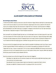 ALLEN COUNTY SPCA BARN CAT PROGRAM