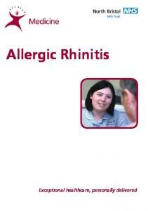 Allergic Rhinitis. Exceptional healthcare, personally delivered
