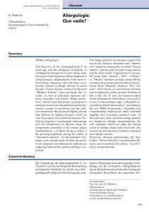 Allergologie: Quo vadis?