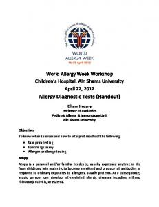 Allergy Diagnostic Tests (Handout)