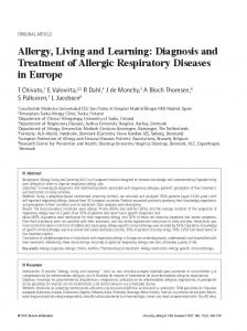 Allergy, Living and Learning: Diagnosis and Treatment of Allergic Respiratory Diseases in Europe
