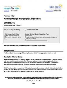 Allergy Monoclonal Antibodies