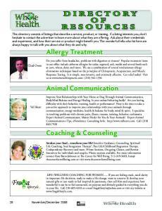 Allergy Treatment. Animal Communication. Coaching & Counseling