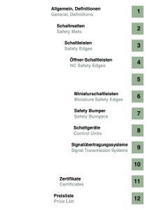 Allgemein, Definitionen General, Definitions. Schaltmatten Safety Mats. Schaltleisten Safety Edges