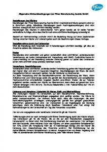 Allgemeine Einkaufsbedingungen der Pfizer Manufacturing Austria GmbH