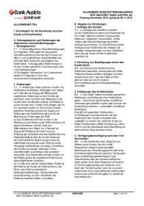 ALLGEMEINE GESCHÄFTSBEDINGUNGEN DER UNICREDIT BANK AUSTRIA AG Fassung November 2012, gültig ab