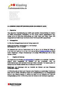 ALLGEMEINE GESCHÄFTSBEDINGUNGEN ONLINESHOP (AGB)