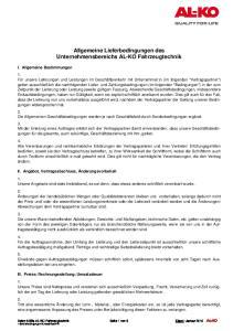 Allgemeine Lieferbedingungen des Unternehmensbereichs AL-KO Fahrzeugtechnik