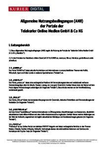Allgemeine Nutzungsbedingungen (ANB) der Portale der Telekurier Online Medien GmbH & Co KG