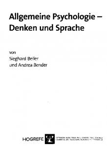 Allgemeine Psychologie Denken und Sprache