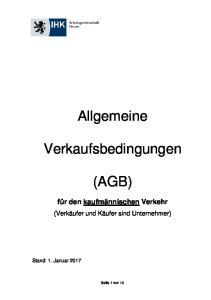 Allgemeine. Verkaufsbedingungen (AGB)