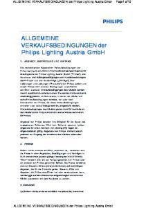 ALLGEMEINE VERKAUFSBEDINGUNGEN der Philips Lighting Austria GmbH