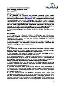 ALLGEMEINE VERKAUFSBEDINGUNGEN Firma NeoNickel Deutschland GmbH Stand August 2014