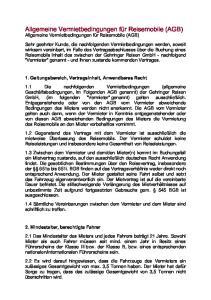 Allgemeine Vermietbedingungen für Reisemobile (AGB) Allgemeine Vermietbedingungen für Reisemobile (AGB)