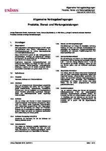 Allgemeine Vertragsbedingungen. Produkte, Dienst- und Wartungsleistungen