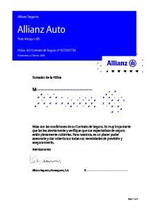 Allianz Auto M Allianz Seguros. Tomador de la Póliza