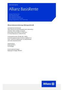 Allianz BasisRente. Allianz Lebensversicherungs-Aktiengesellschaft