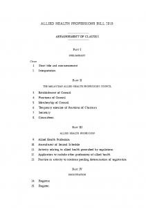 Allied Health Professions 1 ALLIED HEALTH PROFESSIONS BILL 2015