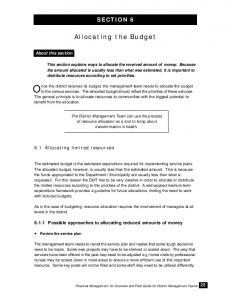 Allocating the Budget