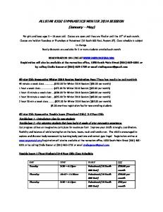 ALLSTAR KIDZ GYMNASTICS WINTER 2014 SESSION (January May)