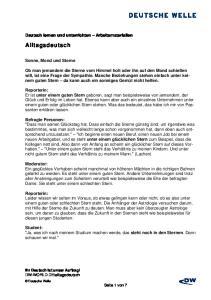 Alltagsdeutsch. Deutsch lernen und unterrichten Arbeitsmaterialien. Sonne, Mond und Sterne