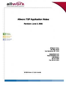 Allworx TSP Application Notes