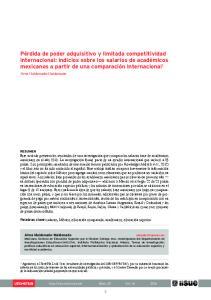 Alma Maldonado-Maldonado. Palabras clave: salarios, México, educación comparada, académicos, educación superior. Alma Maldonado-Maldonado
