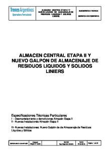 ALMACEN CENTRAL ETAPA II Y NUEVO GALPON DE ALMACENAJE DE RESIDUOS LIQUIDOS Y SOLIDOS LINIERS