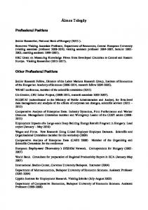 Álmos Telegdy. Professional Positions. Other Professional Positions
