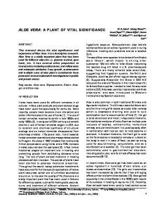 ALOE VERA: A PLANT OF VITAL SIGNIFICANCE