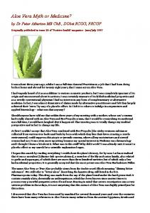 Aloe Vera Myth or Medicine?