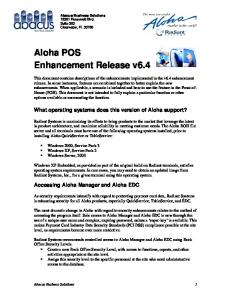 Aloha POS Enhancement Release v6.4