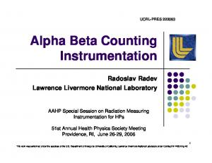 Alpha Beta Counting Instrumentation