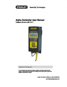 Alpha Controller User Manual