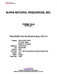 ALPHA NATURAL RESOURCES, INC