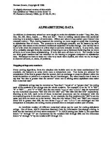 ALPHABETIZING DA TA. Norman Swartz, Copyright 1988
