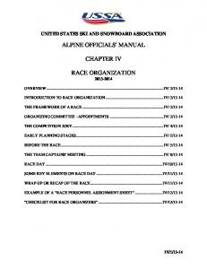 ALPINE OFFICIALS' MANUAL CHAPTER IV RACE ORGANIZATION