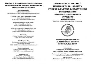 ALRESFORD & DISTRICT HORTICULTURAL SOCIETY PRODUCE, FLOWER & CRAFT SHOW SCHEDULE 2016