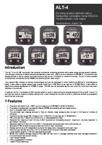 ALT-4. Introduction. 1 Features. Encoding aviation altimeter with a transponder compatible Serial RS232 & Parallel Gillham code output