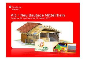 Alt + Neu BautageMittelrhein. Samstag, 28. und Sonntag, 29. Januar 2017
