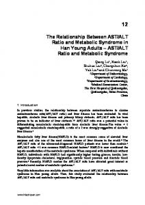 ALT Ratio and Metabolic Syndrome
