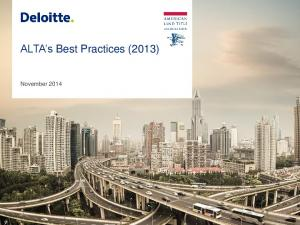 ALTA s Best Practices (2013) November 2014