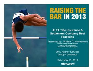 ALTA Title Insurance & Settlement Company Best Practices