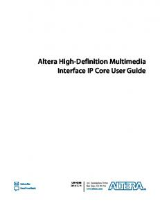 Altera High-Definition Multimedia Interface IP Core User Guide